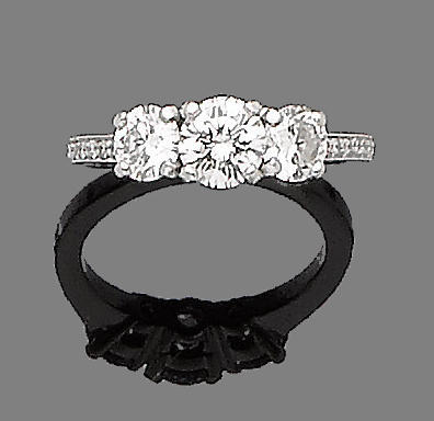 A diamond three-stone ring, by Boodles & Dunthorne