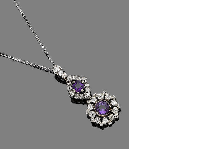 An amethyst and diamond pendant necklace