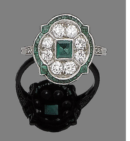 An art deco emerald and diamond brooch and ring, (2)