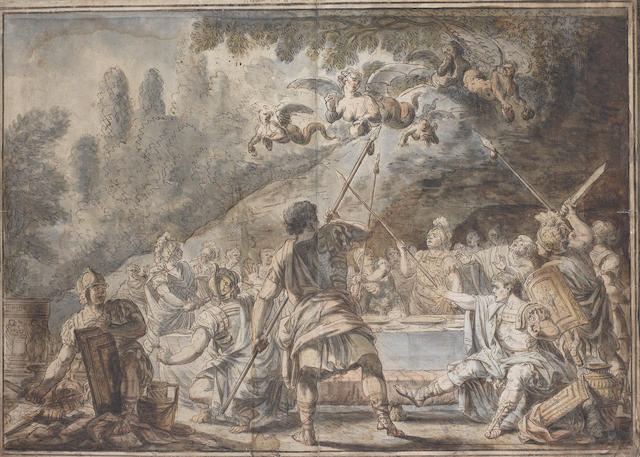 Jacques Gamelin (Carcassonne 1738-1803) Harpies snatching food from the Table of the Thracian King Phineus