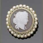 A hardstone cameo, pearl and diamond brooch