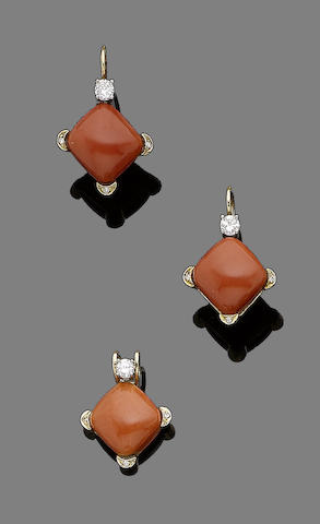 A coral and diamond pendant necklace and earring suite (2)