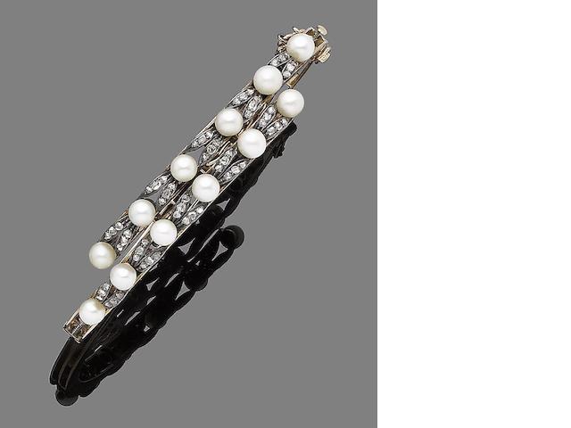 A pearl and diamond hinged bangle,