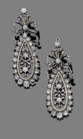 A pair of enamel and diamond pendent earrings