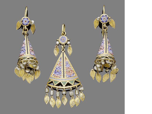 An enamel and seed pearl earring and pendant necklace suite (2)