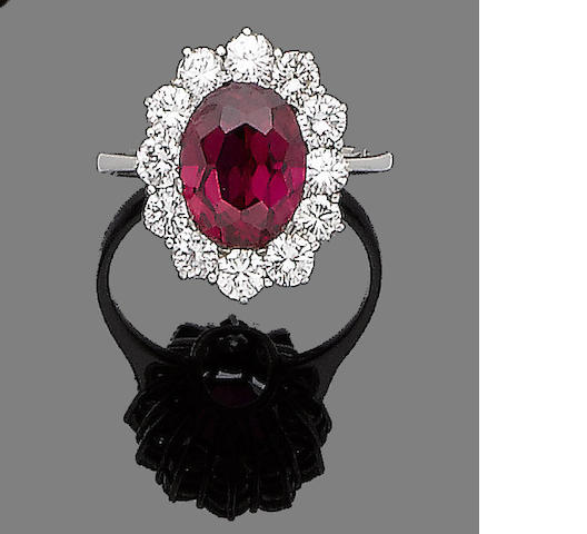 A synthetic ruby and diamond cluster ring