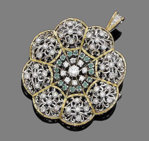 An emerald and diamond brooch/pendant