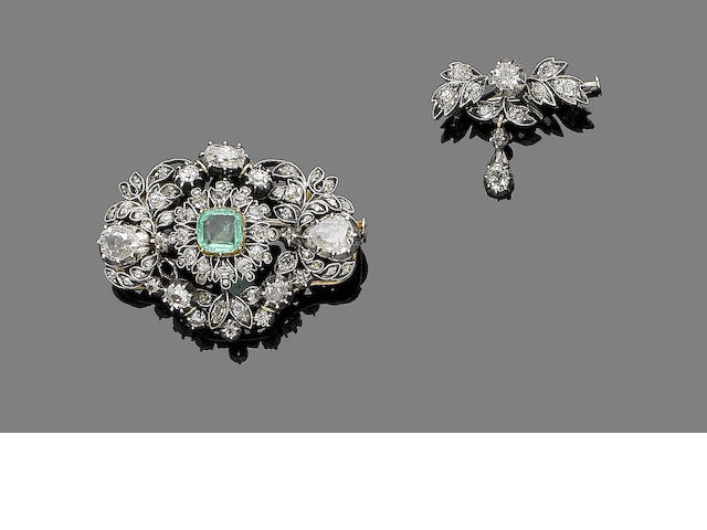 An emerald and diamond brooch, and a diamond brooch (2)