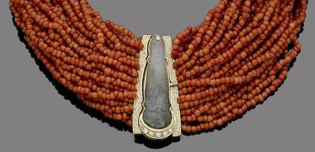 A multi-row coral and jade necklace