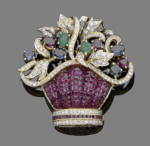 A ruby, sapphire, emerald and diamond-set giardinetto brooch