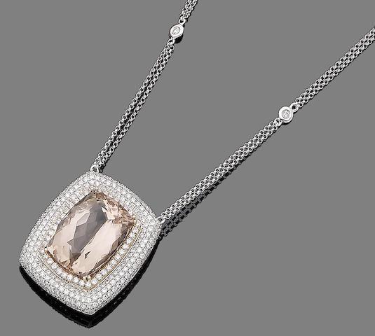 A morganite and diamond pendant