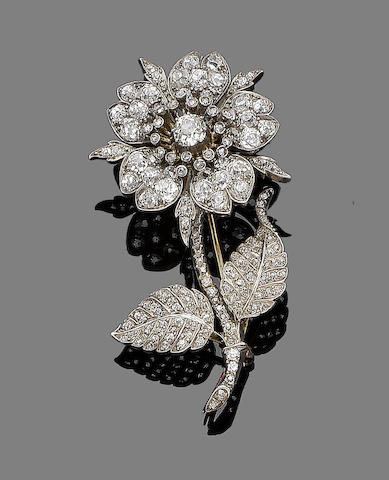A 19th century flower brooch,