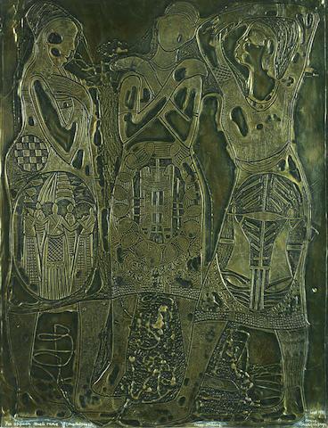 Bruce Onobrakpeya (Nigerian, born 1932) 'Expaen Mueli Rame (Meralhase)' 24 x 18 1/2in