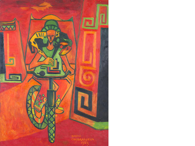 Bruce Onobrakpeya (Nigerian, born 1932) 'Cyclist and the ram'