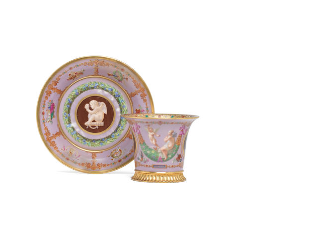A Sèvres cabinet cup and saucer dated 1827 and 1829