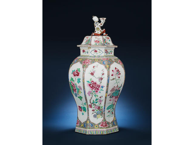 A fine large famille rose octagonal jar and cover Yongzheng