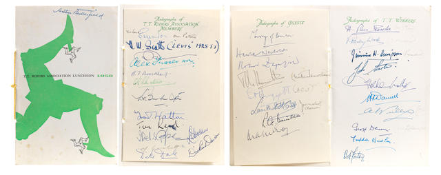 An extensively signed 1958 TT Riders Association Luncheon menu,