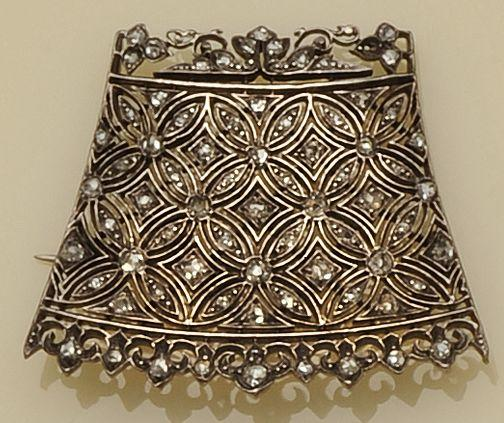 A 19th century diamond set panel brooch