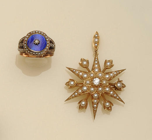 A late 18th century enamel, diamond and seed pearl memorial ring (2)
