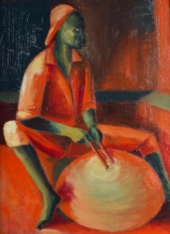Jimoh Akolo (Nigerian, born 1934) Drummer in red