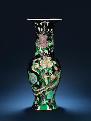 A fine large famille noire baluster vase Jiaqing/Daoguang