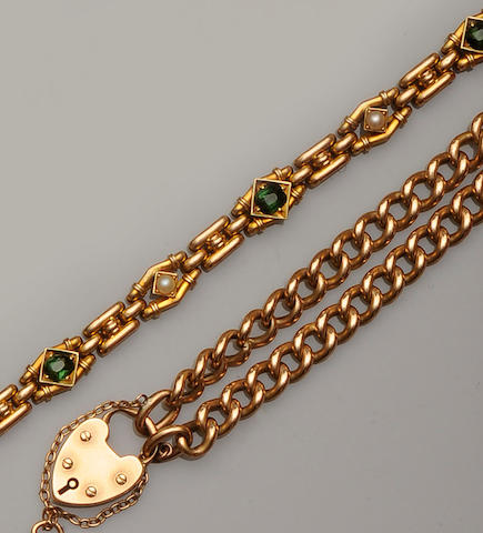 A late Victorian 15ct gold and tourmaline bracelet and a curb-link bracelet  (2)
