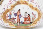 A Meissen KPM teapot and cover, circa 1724 decorated with chinoiserie panels