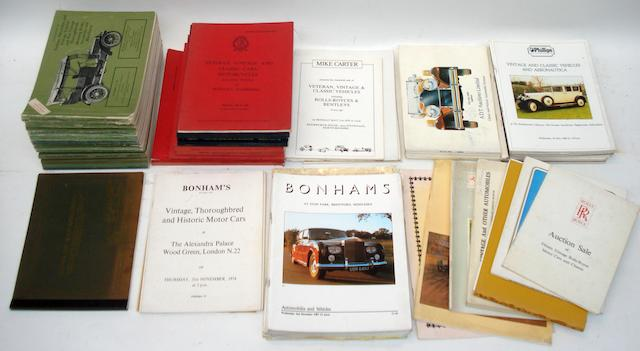 A quantity of Motoring auction catalogues,