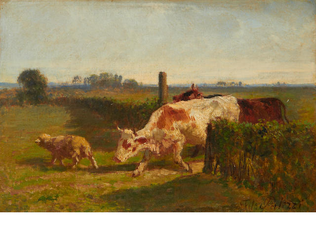 Circle of Filippo Palizzi (Italian, 1818-1899) Cattle in a field
