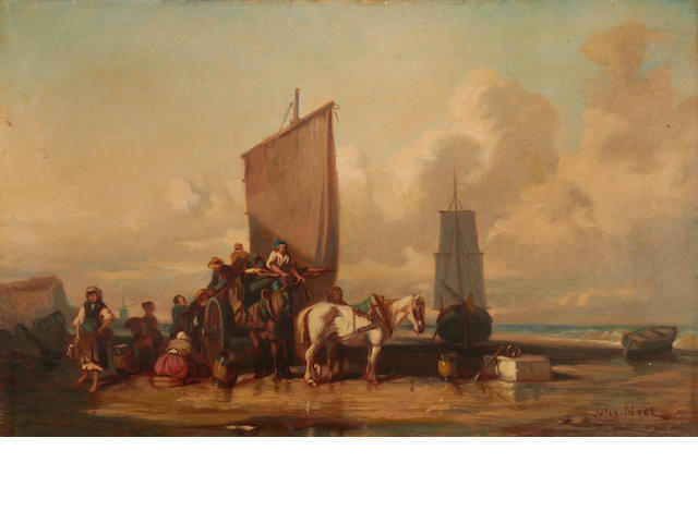 Circle of Jules Achille Noel (French, 1815-1881) After the catch; Unloading the cart, a pair each 29.3 x 45.5cm (11 9/16 x 17 15/16in), (2).
