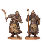 A pair of lacquered wood figures, signed Koryusai Kogyoku