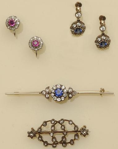 A pair of 19th century sapphire and diamond cluster earpendants (6)
