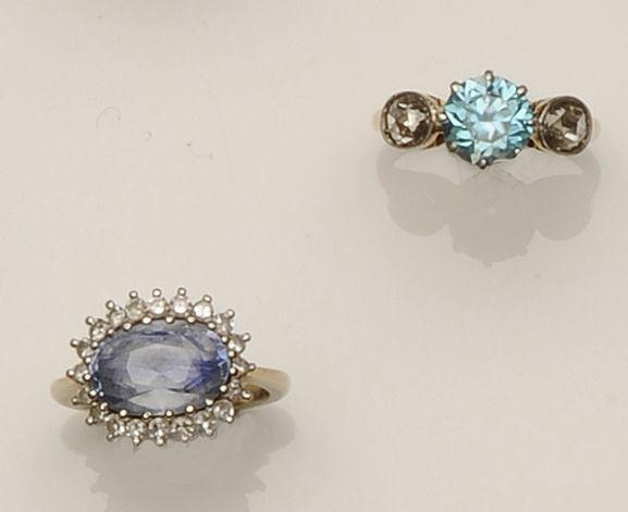 Two gem set rings (2)