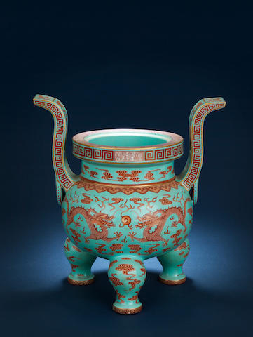 A rare large turquoise-ground iron-red 'dragon' tripod incense burner Qianlong seal mark in a horizontal line and of the period