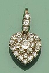 A Victorian diamond set heart-shaped pendant  (2)