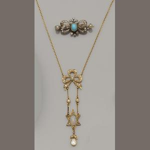 An opal, diamond and seed pearl pendant (8)