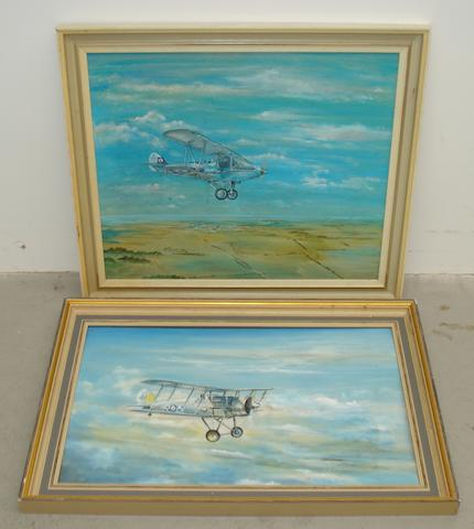 A Hawker Demon, two framed oil paintings,