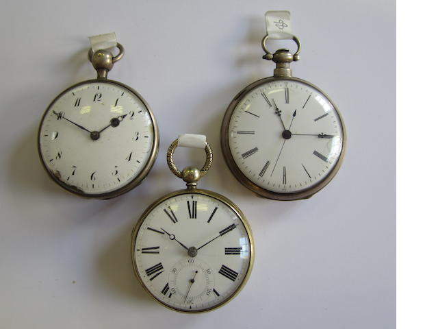 A lot of three open face pocket watches