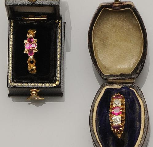 Two ruby and diamond set rings (2)