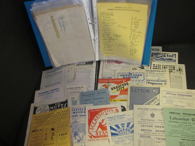 A collection of 1940's football postcards, programmes and facsimile signatures