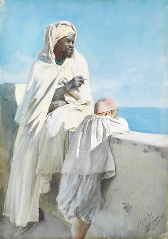 Anders Zorn (Swedish, 1860-1920) Man and boy in Algiers