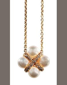 A cultured pearl and diamond pendant, by Mikimoto