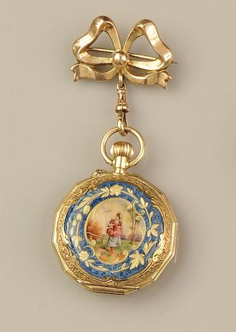 A late 19th century enamel fob watch