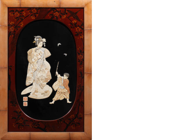 A lacquered-wood and inlaid ivory panel Meiji Period