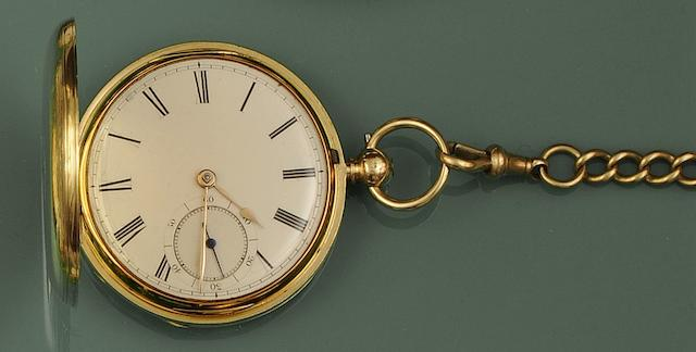 An 18ct gold hunter cased pocket watch
