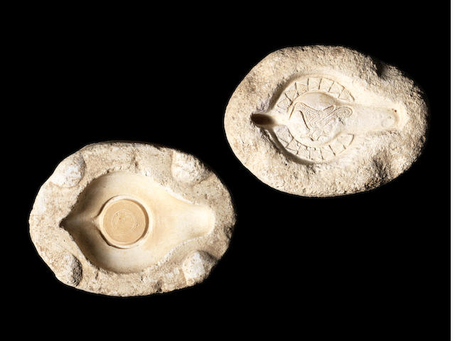 Two Late Roman limestone oil lamp mould sections  2