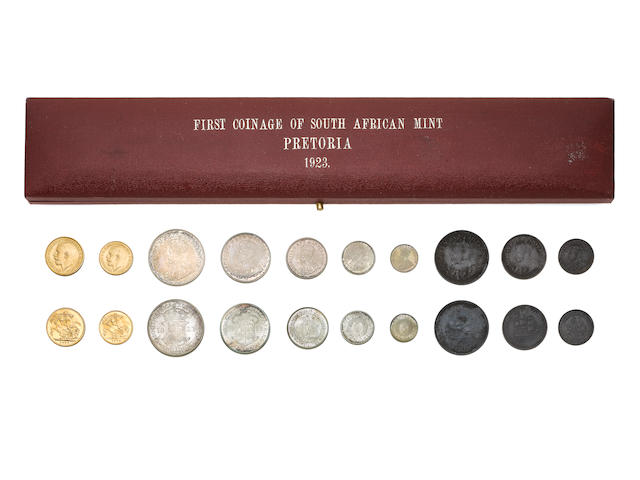 South Africa, Proof Set, 1923, Sovereign to 1/4 Penny. In official Mappin & Webb case of issue.