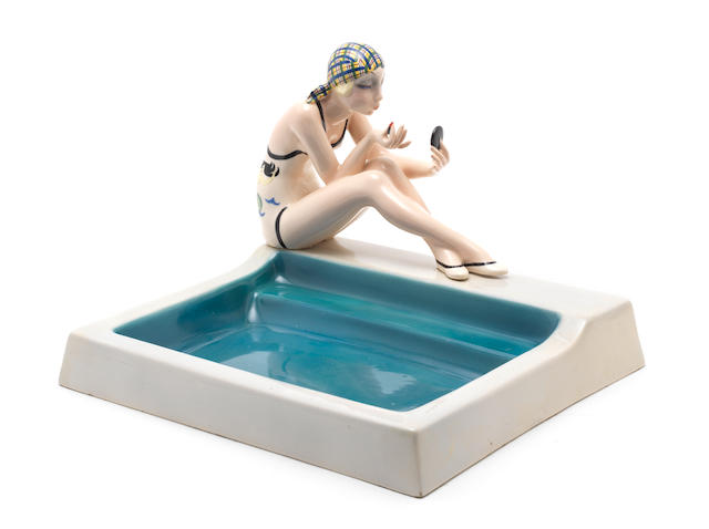 Sandro Vacchetti for Essevi 'Donna Che Si Trucca' a Pottery Figure of a Bather, circa 1935