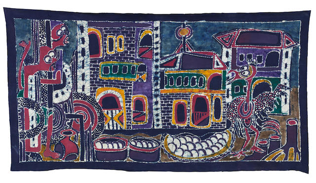 Yinka Adeyemi (Nigerian, born 1941) cloth batik, Yoruba village market folktale scene.  66 inches by 36 inches