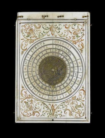 A Thomas Tuchar ivory triptych sundial,  Nuremberg,  pre 1645,